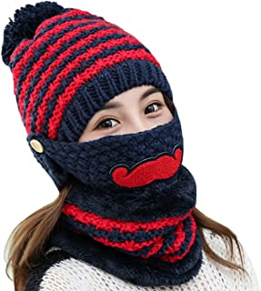 Powerfulline Women's Winter Warm Knitted Beanie Bobble Hat Outdoor Face Mouth Mask + Scarf