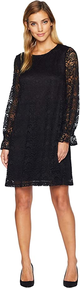 Oversized Zigzag Crochet Lace Shift Dress w/ Long Sleeves & Cuff