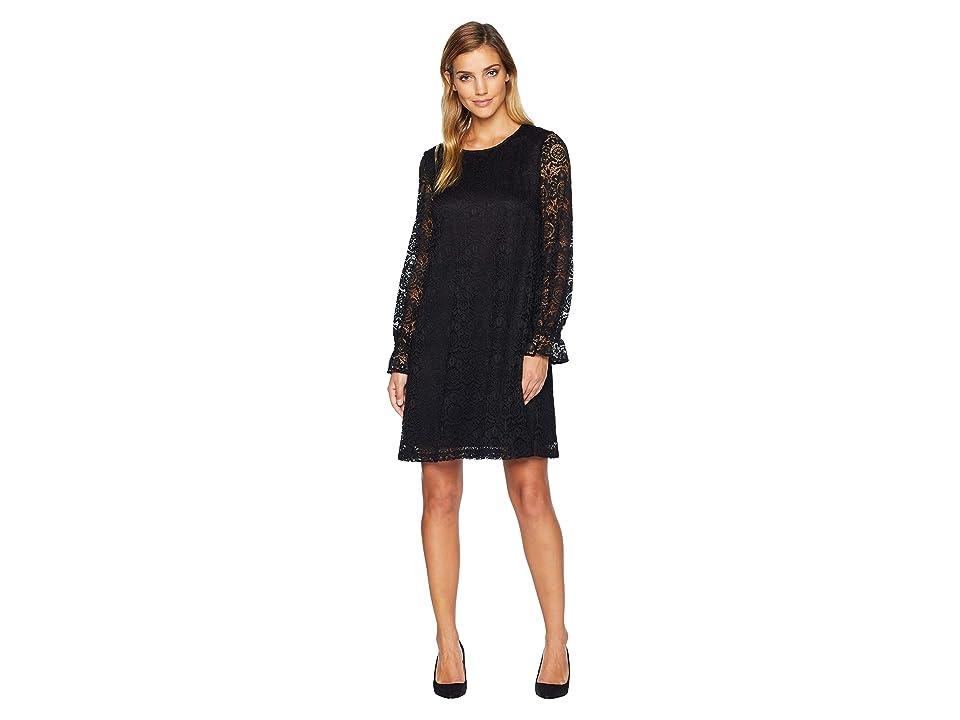 Nine West Oversized Zigzag Crochet Lace Shift Dress w/ Long Sleeves Cuff (Black) Women