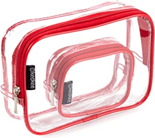 Keokee Clear Toiletry Bag Set | Quart Size with Smaller Case for Travel and Organizing | TSA Compliant for 3-1-1 Liquids (Red)