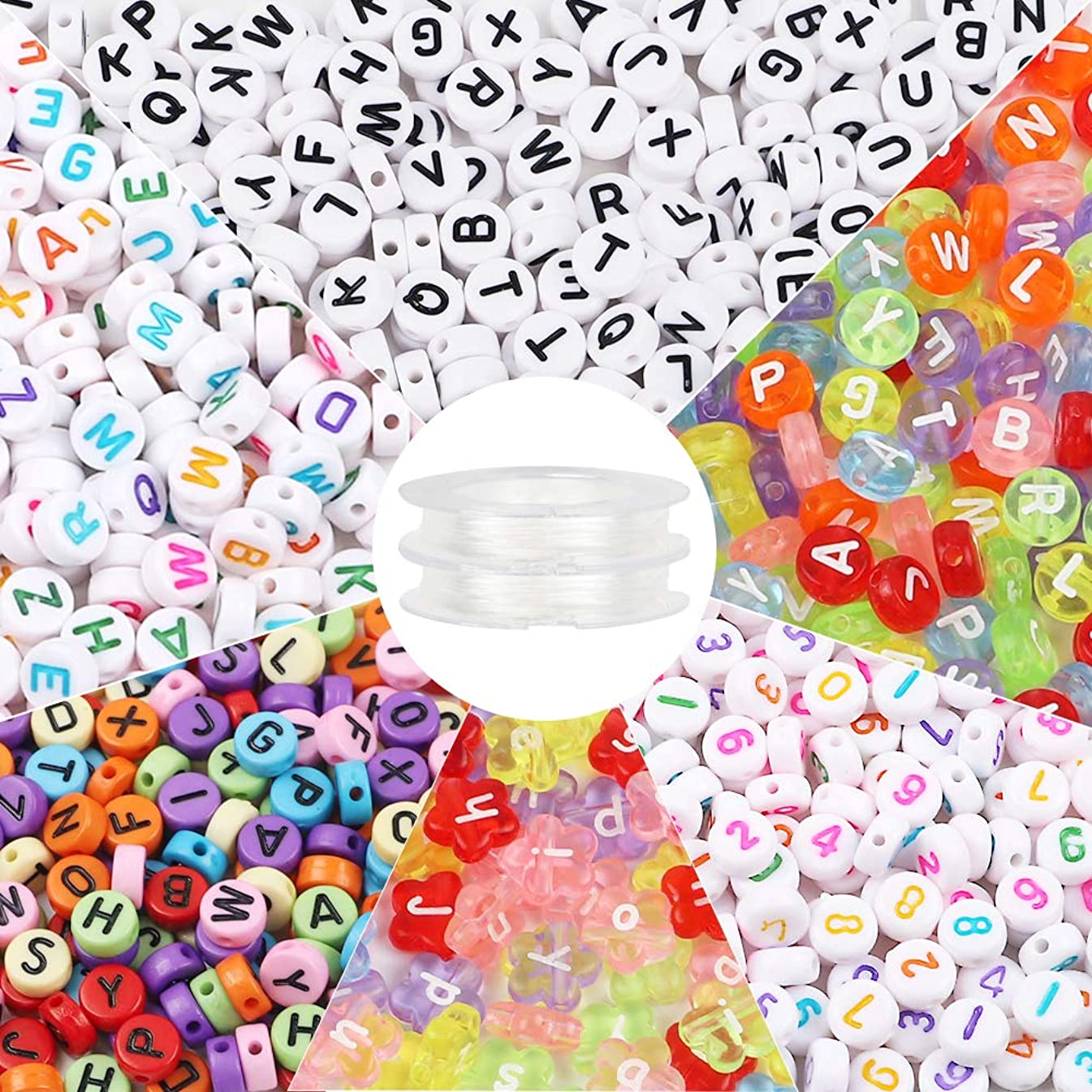 Quefe 1600pcs Letter Beads Including 1500pcs 4x7mm Letter Beads of 5 Styles and 100pcs 4x12mm Flower-Shaped Letter Beads, 18meters Elastic String Cord for Necklaces, Bracelets, Key Chains, etc.