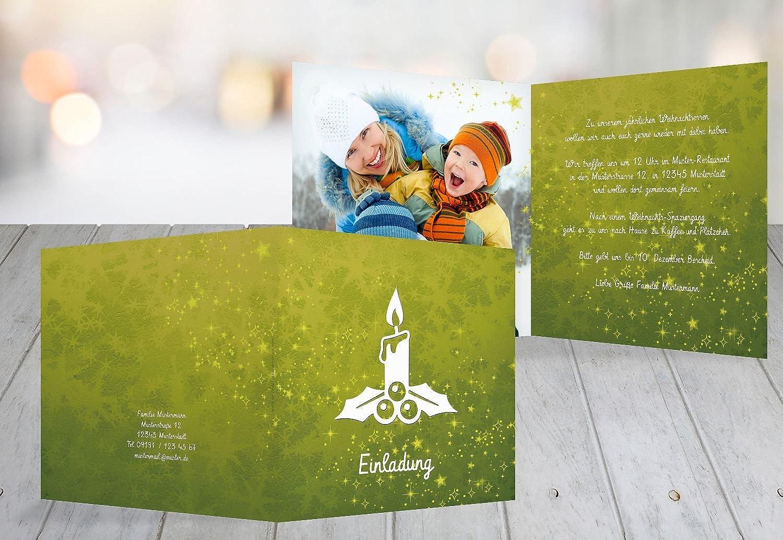Kartenparadies Einladungskarte zu Weihnachten Foto Einladung Advent, Advent, Advent, hochwertige Weihnachtseinladung zum Selbstgestalten (Format  145x145 mm) Farbe  Lindgruen B01NASPQ9K  | Qualitativ Hochwertiges Produkt  fc8b4b