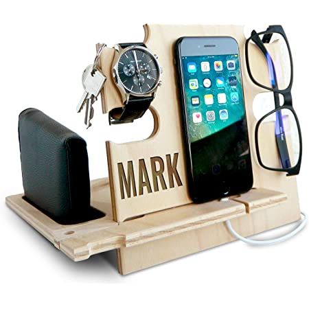 Personalized Gifts for Men, Cell Phone Stand, Wooden Desk Organizer, Phone Dock - Nightstand Charging Station, Phone Holder, Gift Ideas for Christmas, Birthday, Anniversary (Natural)