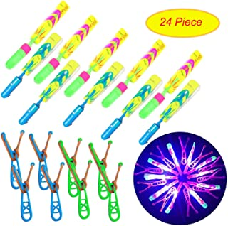 KMUG New Upgrade LED Amazing Helicopter Slingshot Rocket Arrow Helicopter Glow in The Dark Party Supplies for Child Kids (24 Piece)