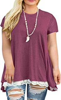 Gognia Women's Plus Size Casual Short Sleeve Tunic Tops Loose T Shirt Blouse with Lace