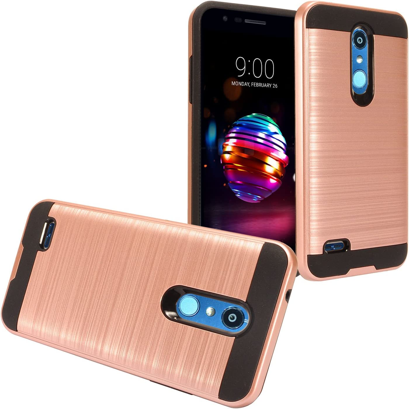 LG K30 LM-X410, Phoenix Plus X410AS, Harmony 2, Premier Pro LTE L413DL - Brushed Style Hybrid Case + Tempered Glass Screen Protector - CS3 Rosegold