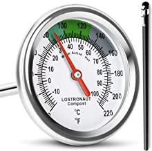 Long Stem Compost Soil Thermometer - Fast Response Stainless Steel 16 Inch - Fahrenheit and Celsius - Includes Protective Sheath and Composting Guide