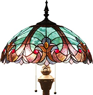 Tiffany Style Floor Standing Lamp 64 Inch Tall Green Liaison Stained Glass Shade 2 Light Antique Base for Bedroom Living Room Reading Lighting Coffee Table Set S160G WERFACTORY
