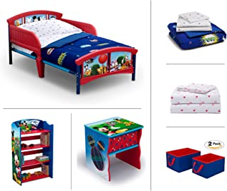 Disney Mickey Mouse Toddler Room Set, 6-Piece (Toddler Bed   Bookcase   Side Table   Bedding Set   Storage Bins   Bonus Sheet Set)