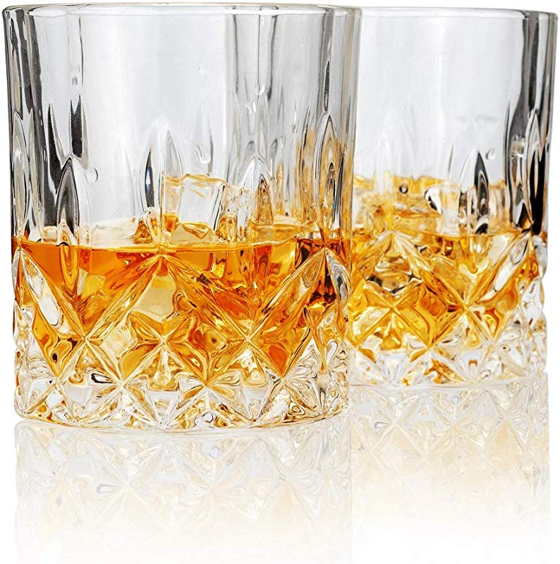 LANFULA Double Old Fashioned Whiskey Glass Lead Free Crystal Scotch Tumbler Set Of 2 10 Oz Unique Gift Box For Men Dad Husband Friends