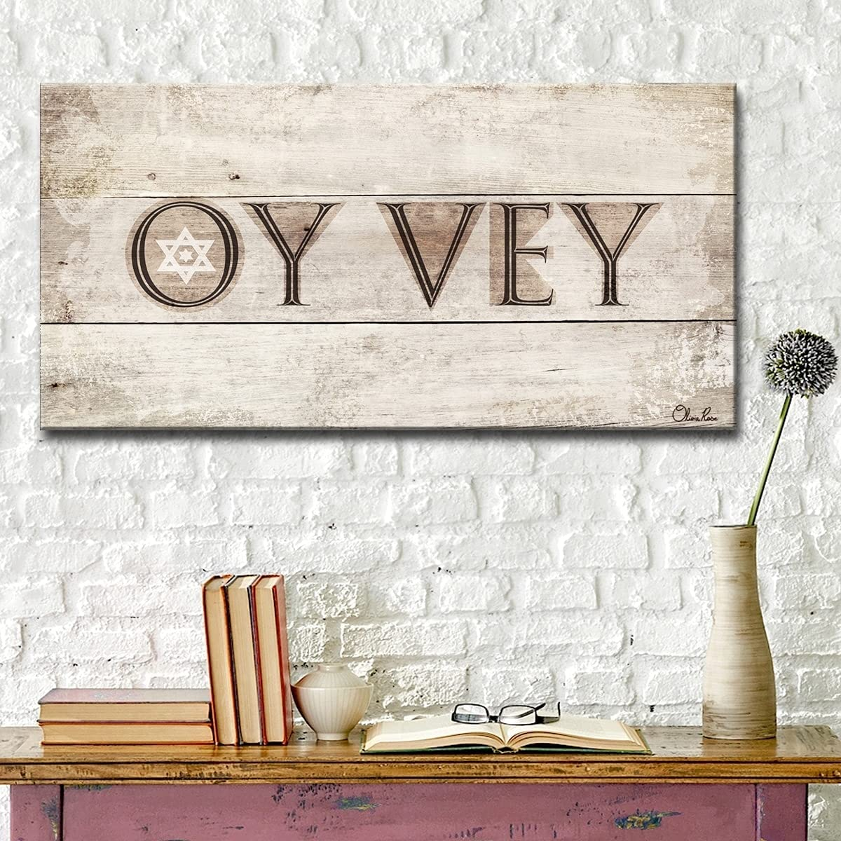 Ready2HangArt Olivia Rose Inspirational Canvas OFFicial store Wrapped Vey' New mail order 'Oy