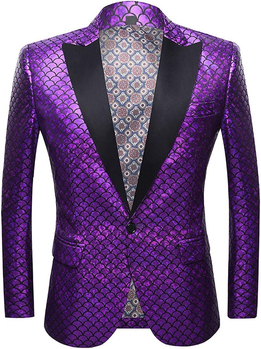 Mens Scale Print Tux Suit Jacket Shiny Dress Blazer Dinner Sport Coat