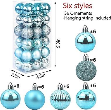 Christmas Balls Ornaments,36 Pcs Shatterproof Christmas Tree Decorations Hanging Ball for Xmas Tree Holiday Wedding Party Dec