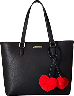 Tote with Faux Fur Hearts