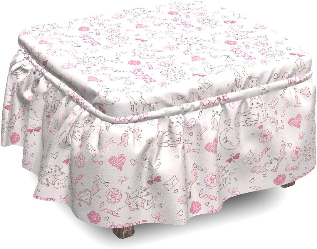 Ambesonne Seasonal Wrap Introduction Love Ottoman Cover Kissing Birds 2 Ranking TOP17 Cats Piece S Eros