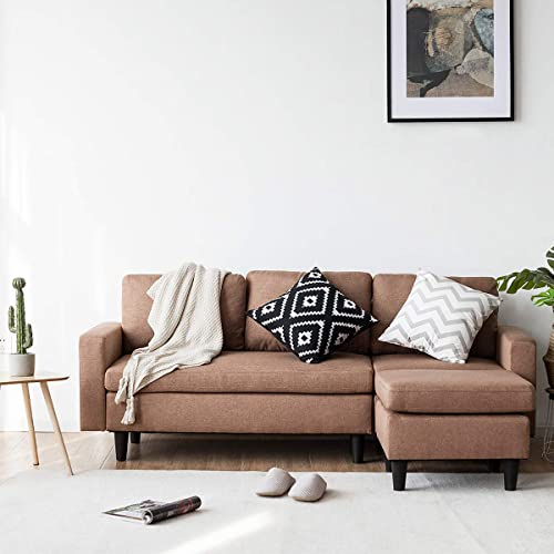 lowest Giantex Convertible Sectional Sofa Couch with Reversible Chaise, discount L-Shaped Sofa Couch for Small Space sale Apartment, 3 Piece Linen Fabric Loveseat Couch Sets (Coffee) outlet sale