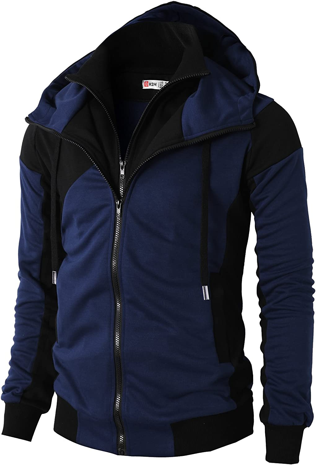 H2H Mens Fashion Double Zipper Closer Hoodie Zip-Up with Two Tone color