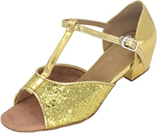 "Jig Foo Sandals Open-Toe Latin Salsa Tango Ballroom Dance Shoes for Girls with 1.2"" Heel"