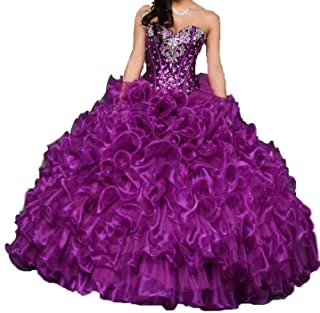 ANGELA Women's Sweetheart Crystal Ruffles Ball Gown Long Sweet 16 Quinceanera Dress