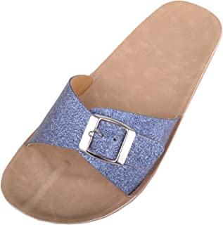 ABSOLUTE FOOTWEAR Womens Casual Glitter Slip On Mule Summer/Holiday Sandals/Shoes