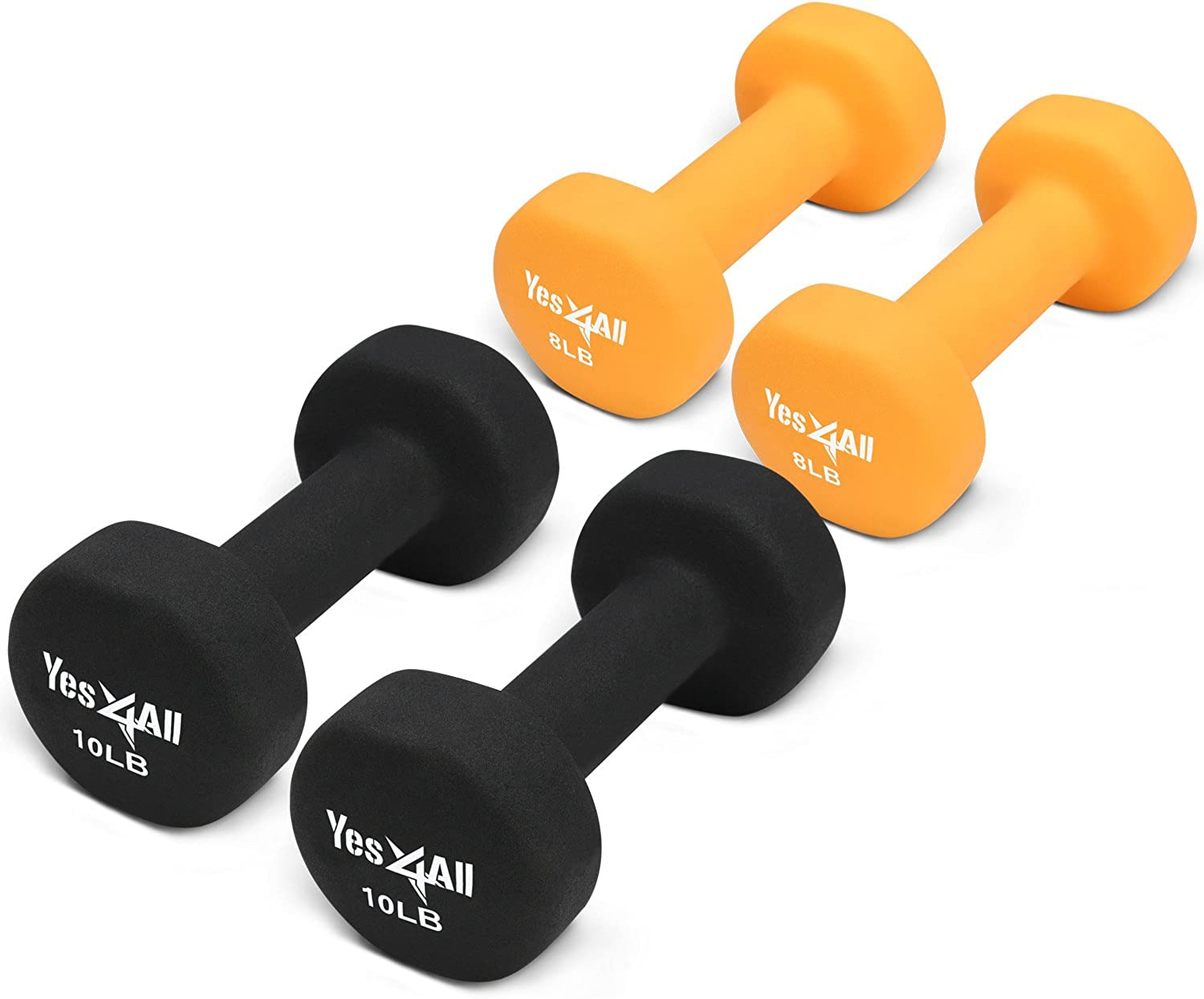 Yes4All 8 & 10 lbs Dumbbells Neoprene with Non Slip Grip – Great for Total Body Workout – Total Weight  36 lbs (Set of 2 Pairs)