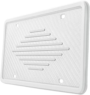 Intermerge Silicone License Plate Frame Holders Rust-Proof/Rattle-Proof/Weather-Proof with Drainage Holes Universal American Car Licenses Plate Covers (White)
