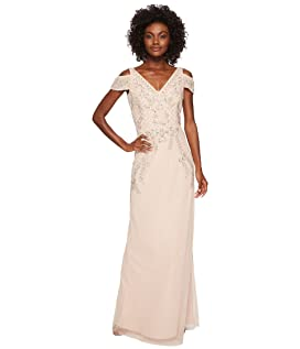V-Neck Long Beaded Mob Gown with Cap Sleeves