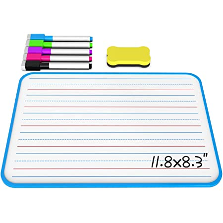 Ruled Dry Erase Lapboard Double Sided, Dry Erase Board with Lines for Kids, Small Whiteboard for Home & School (Blue)