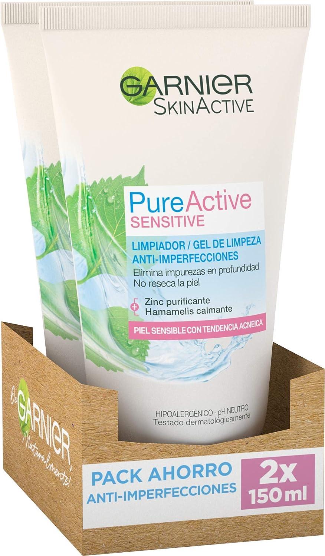 Garnier Skin Active Limpiador de Poros Sin Jabón Anti Imperfecciones, Limpia y Matifica, Purifica y Reduce Imperfecciones en 4 Semanas, para Pieles Sensibles, Pack x 2, 150 ml