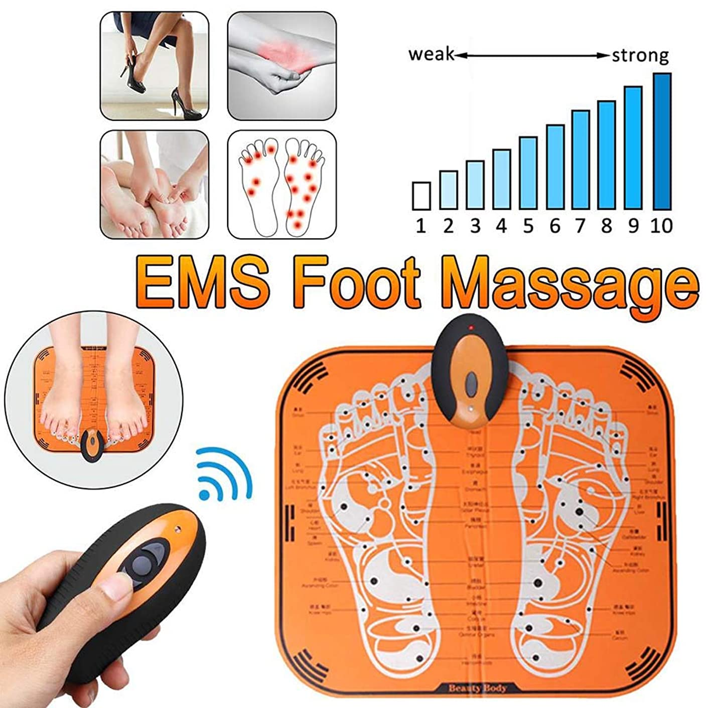 機動発生フォージ電気フットマッサージャーEMS ABS理学療法鍼治療ペディキュアフットマッサージャーUSBリモート充電