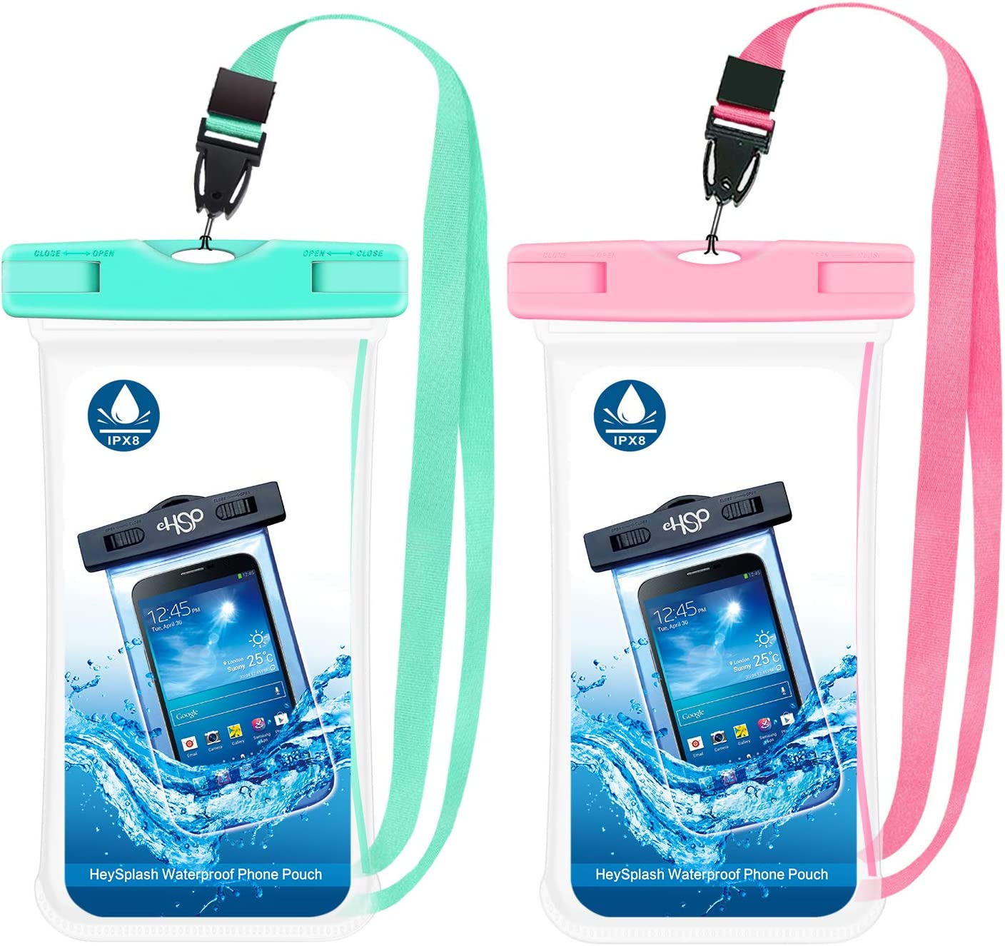 HeySplash Waterproof Phone Case, [2 Pack] IPX8 Wateproof Underwater Cellphone Pouch for Beach SUP or Bathing Dry Bag with Lanyard Fit with iPhone 12/12 mini/12 Pro/Pro Max/11 Pro Max/XS Max/11/XR/SE