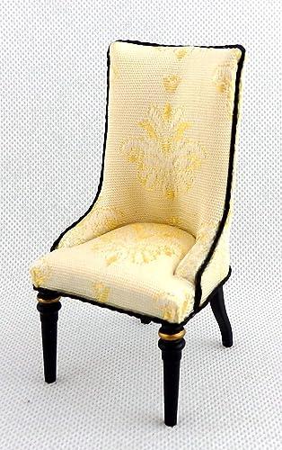 Melody Jane Maison Noir Or Tapissé Manger Chaise Miniature Meuble Qualité