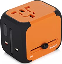 JACKLY World Travel Adapter, Dual USB Ports Universal Worldwide Travel Adapter All-in-one International [USA UK EU AU] Plug(Orange)