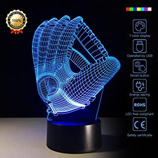 Night Light Baseball Glove 3D Night Light Beside Lamp Help Kids Fell Safe at Night 7 Colors Change Decor Perfect Birthday Gift for Kids Great Toy Gift Idea for Kids (Baseball glove)