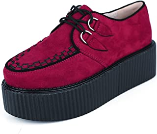 c1a15298233296 RoseG Femmes Lacets Plate Forme Gothique Punk Creepers Casual Chaussures