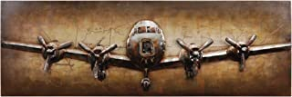 Empire Art Direct Airplane Metal, Hand Painted Primo Mixed Media Iron Sculpture, Decor,Ready to Hang,Living Room, Bedroom & Office 3D Wall Art, 72 in. x 2.2 in. x 24 in. in, Brown,Tan