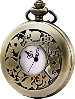 Men's Women Quartz Pocket Watch Alice in Wonderland Series Hollow Case Vintage Fob Watches