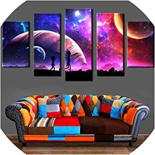 Canvas Pictures Home Wall Art Framework Decor 5 Pieces Rick and Morty Painting for Living Room HD Prints Animated Cartoon Poster,10x15 10x20 10x25cm,No Frame