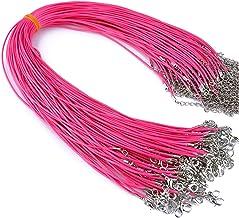 Jewelry rope 50 stuks kleurrijke lederen koord wax touw ketting wax koord ketting hanger voor DIY Handgemaakte kreeft Slui...
