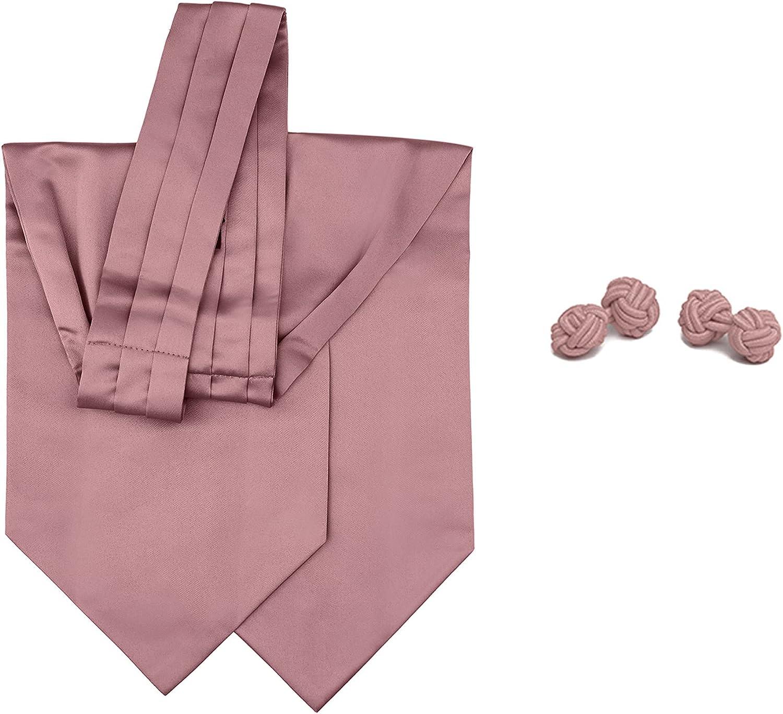 2 Piece Set: Jacob Alexander Men's Solid Color Cravat Ascot Neck Tie and Cufflinks