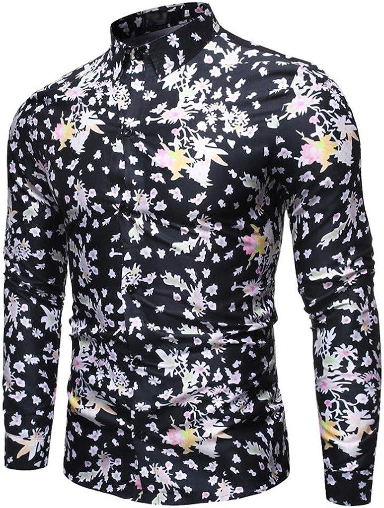 Gergeos Men's Dress Shirt Retro Printed Button Down Shirts Standard-Fit Casual Shirts Long Sleeve T-Shirts for Men M-XXXL