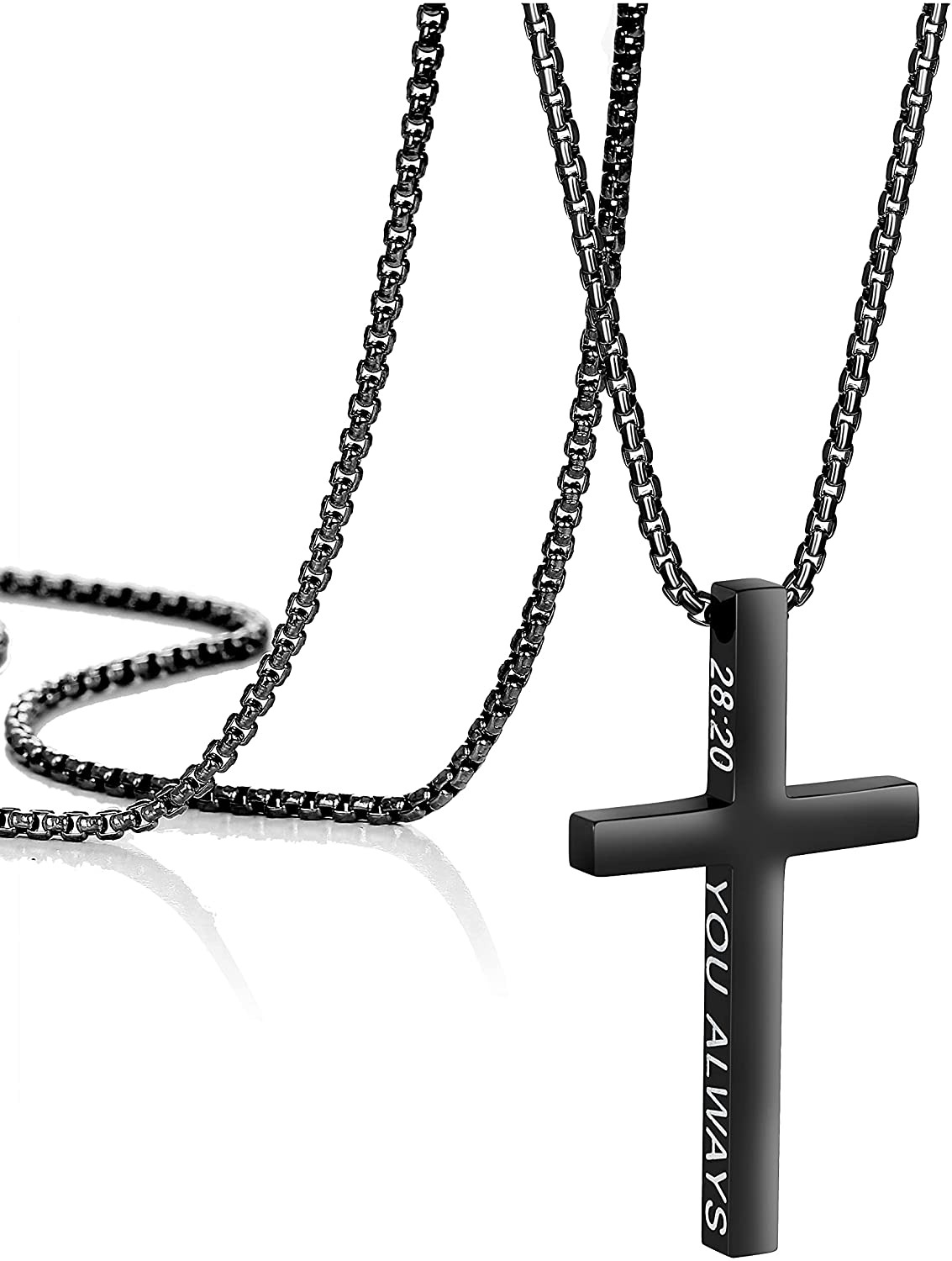Black Cross Necklaces for Men Boys Christian Faith Religious Minimalist Baptism Classical Bible Verse Friendship Jewelry Prayer Gifts Black Plated Stainless Steel Chain Length 16-30 Inch