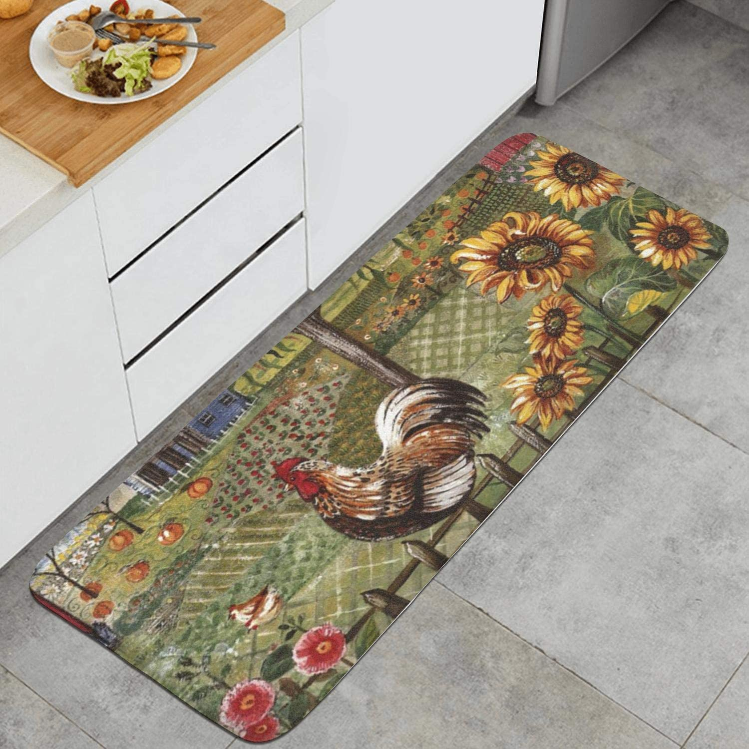 Amazon Com Sunflower And Rooster Kitchen Mat Absorbent Rugs Non Slip Rug Dining