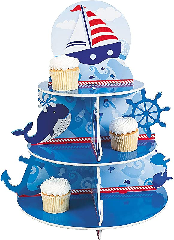 1 X Nautical Sailor Cupcake Holder Stand Size 16 X 12 Diam By Fun Express Blue And White