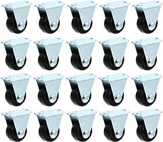 ULTECHNOVO Rodízios Fixos de Borracha 20 Unidades de Segurança para Serviço Pesado Travando Ruído Rodas de Proteção de Piso