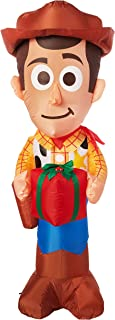 Gemmy Toy Story Christmas Inflatable Woody with Present 5FT Tall Indoor/Outdoor Holiday Decoration