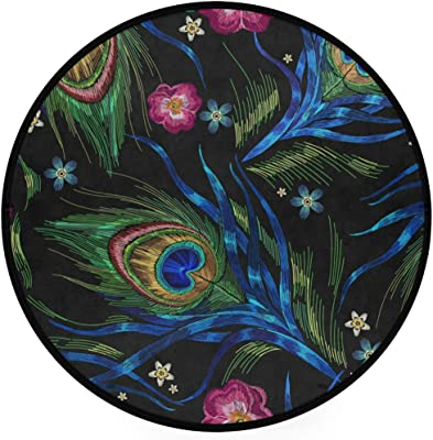Lmuchen Round Area Rugs Embroidery Peacoke Feather Non Slip Carpet Circle Nursery Rug Soft Doormat Shower Gift for Living Room Bedroom Playroom Decor