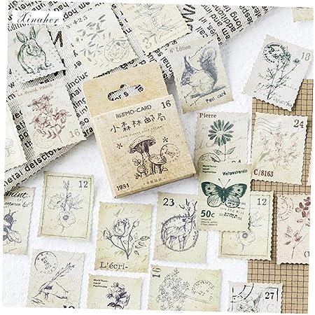 46 Pcs Papier Timbré Animaux Vintage Autocollant Décoration Stickers Pour Craft Diary Scrapbooking Planner Étiquette