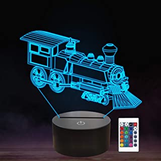 Train Night Light, 3D Illusion Lamp for Kids, 16 Colors Changing with Remote Control Dim Function, Creative Birthday Xmas ...