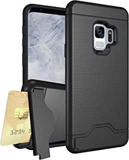 Samsung Galaxy A8 2018 Case, Vultic Card Slot w/Kickstand Brushed Shockproof Slim Texture Dual-Layer Hybrid Armor Protecti...